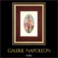Golden Twenties - Années Folles - Art Deco - Eroticism - Coup de Vent - Eiffel Tower | Original watercolor painting on paper. Anonymous. 1920