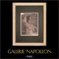 Escalier dans la Bastide Saint-Pierre de Lauris - Luberon - Vaucluse (France) | Phototypie originale. Anonyme. 1928