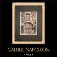 Porta di uno riparo a Châteauneuf-de-Gadagne - Vaucluse - Provenza (Francia) | Fototipia originale. Anonima. 1928