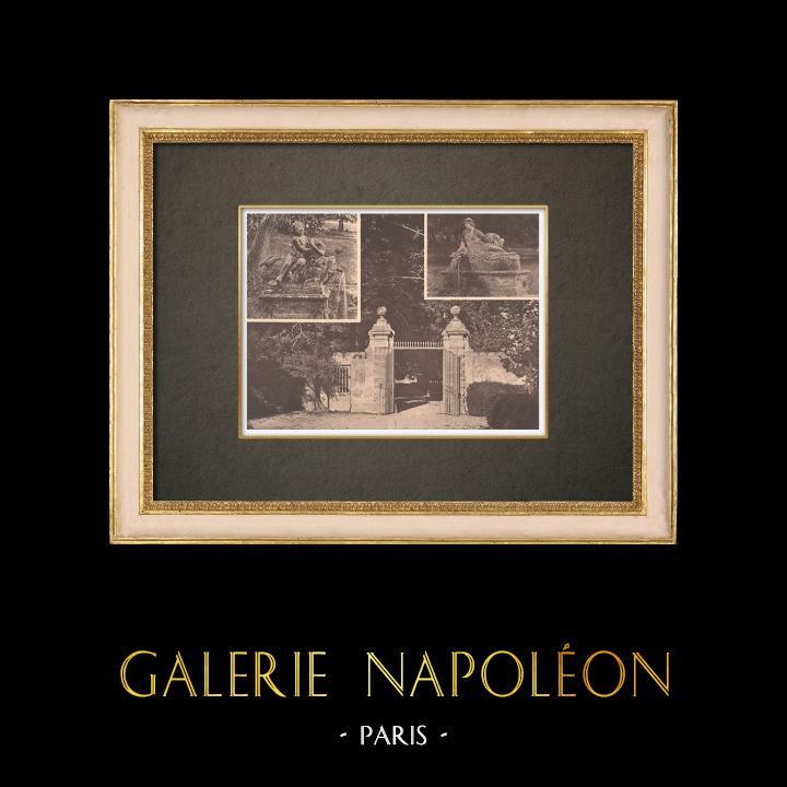 Grabados & Dibujos Antiguos   Castillo qe Lanfant - Aix-en-Provence - Portada - Fuentes - Provenza (Francia)   Fototipia   1928