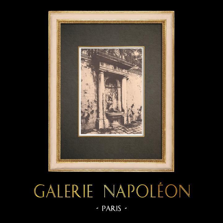 Gravures Anciennes & Dessins   Hotel de Cabris à Grasse - La fontaine - Alpes-Marítimes - Provence (France)   Phototypie   1928