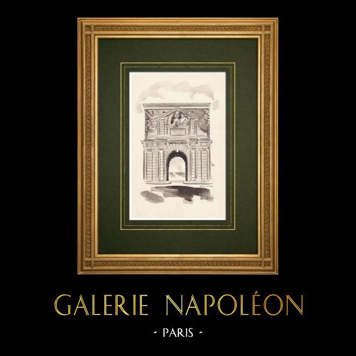 Grabados & Dibujos Antiguos | Porte de l'Escaut - Porta de ciudad - Amberes - Antuerpia - Bélgica (Ketty Muller) | Dibujo | 1947