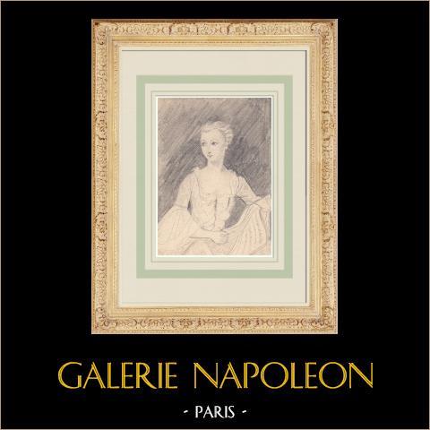 Porträtt av Madame de Pompadour - Jeanne Antoinette Poisson (Ketty Muller) | Original pennteckning efter teckning av Ketty Muller efter Quentin de la Tour. 1947