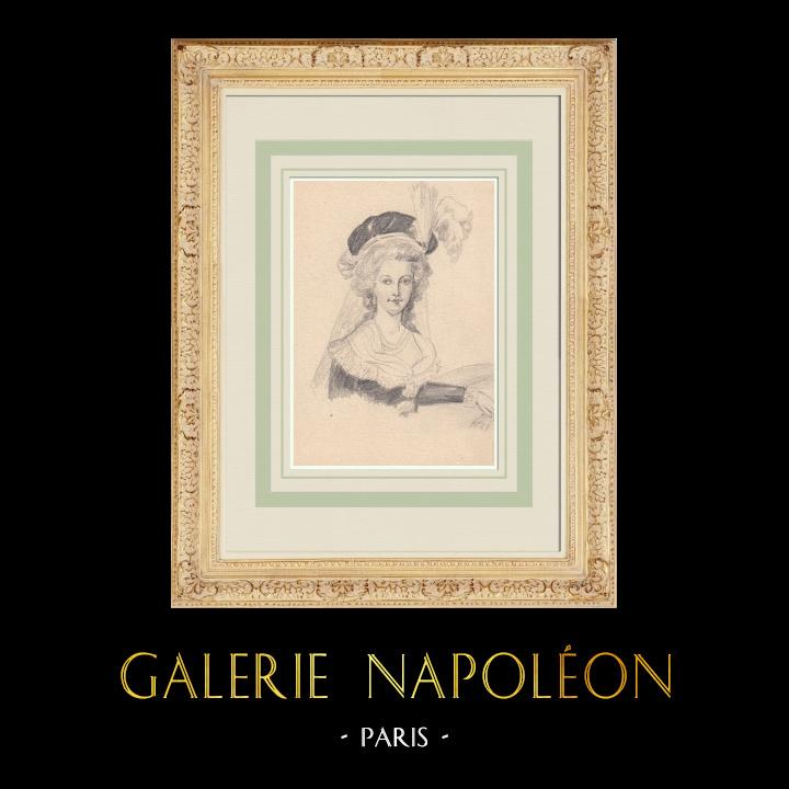 Antique Prints & Drawings | Portrait of Marie-Antoinette (Ketty Muller) | Drawing | 1947