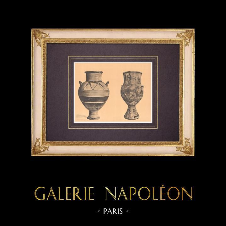 Antique Prints & Drawings | Greek vases - Amphoras - Cyclades (Greece)  | Heliogravure | 1929