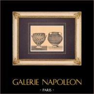 Vases grecs - Cratère d'Aristonothos - VIIème Siècle (Etrurie) | Héliogravure originale d'après Alinari. 1929
