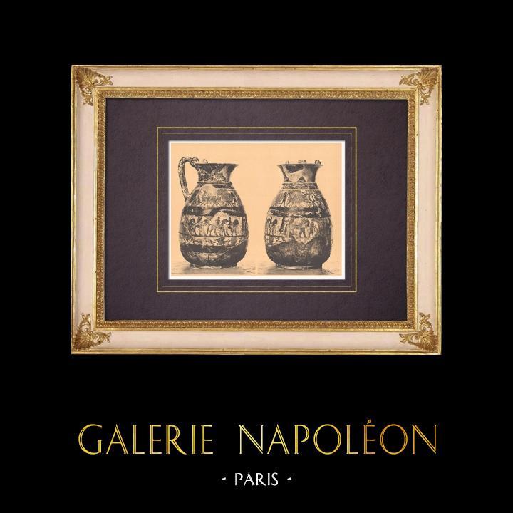 Gravures Anciennes & Dessins | Vases grecs - Oenochoé Chigi - VIème Siècle (Formello) | Héliogravure | 1929