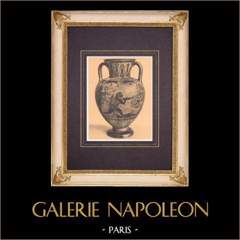 Jarrones griegos - Ánfora - Calcis - Heracles - Siglo VI (Vulci) | Heliograbado original según Alinari. 1929