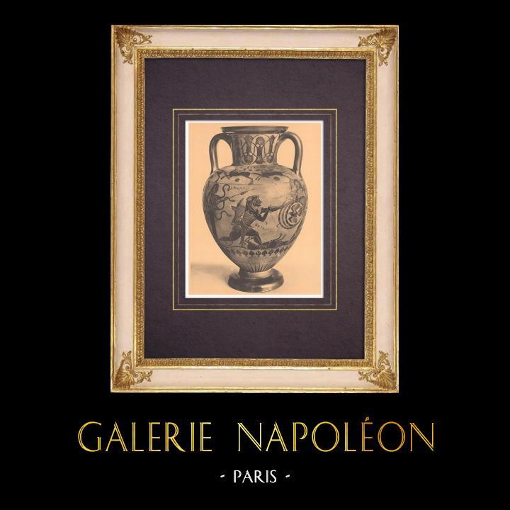 Gravures Anciennes & Dessins | Vases grecs - Amphore chalcidienne - Héraclès - VIème Siècle (Vulci) | Héliogravure | 1929