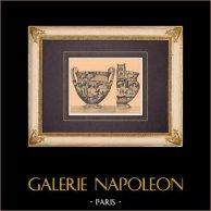 Vases grecs - Cratère - Vase François - 6ème Siècle avant J.-C. (Etrurie) | Héliogravure originale d'après Alinari. 1929