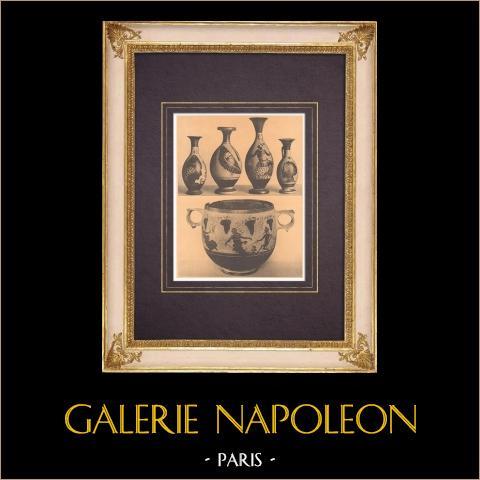 Jarrones griegos - Cuatro pequeños Lécitos - Skyphos - Siglo IV | Heliograbado original según Alinari. 1929