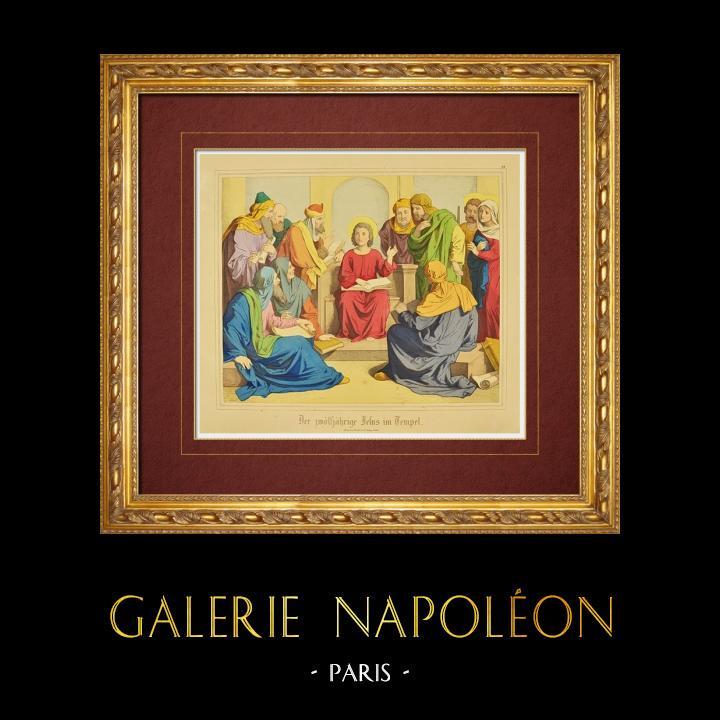 Gravures Anciennes & Dessins | Jésus enfant dans le temple au milieu des Docteurs (Nouveau Testament) | Gravure sur bois | 1861