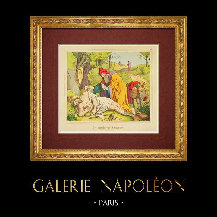 Gravures Anciennes & Dessins | Parabole - Le Bon Samaritain (Nouveau Testament) | Gravure sur bois | 1861