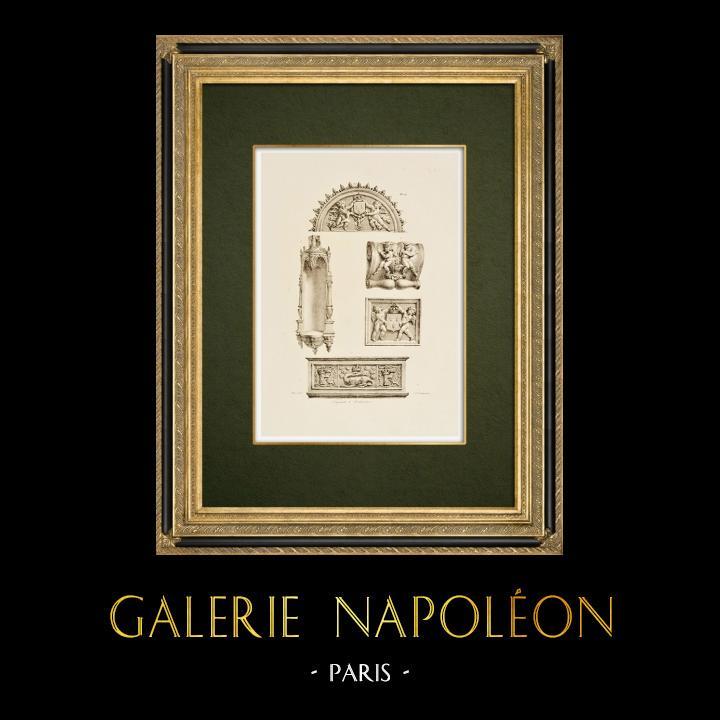Antique Prints & Drawings | Château de Chambord - Architectural elements - Loir-et-Cher (France)   | Lithography | 1821