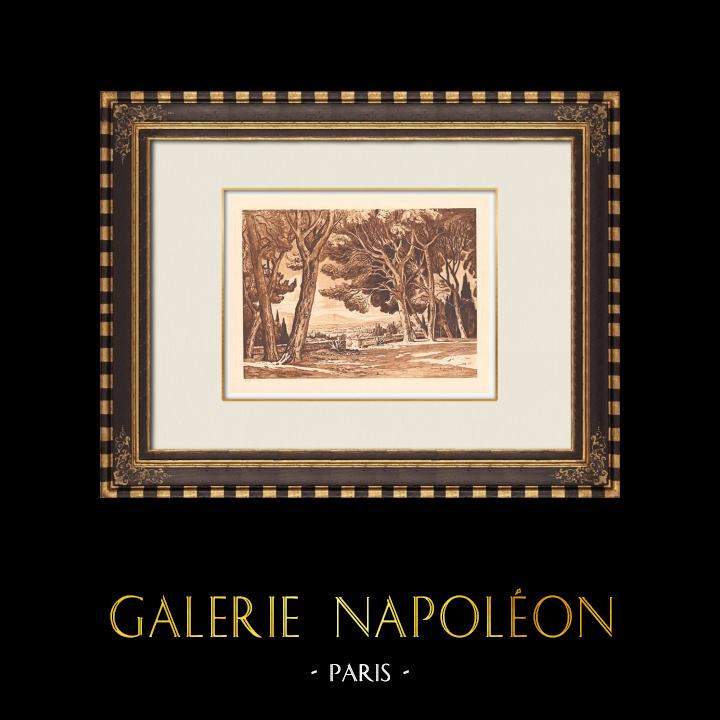 Antique Prints & Drawings   Terrasse de Montbrise - Aix-en-Provence - Bouches-du-Rhône (France)   Copper engraving   1943