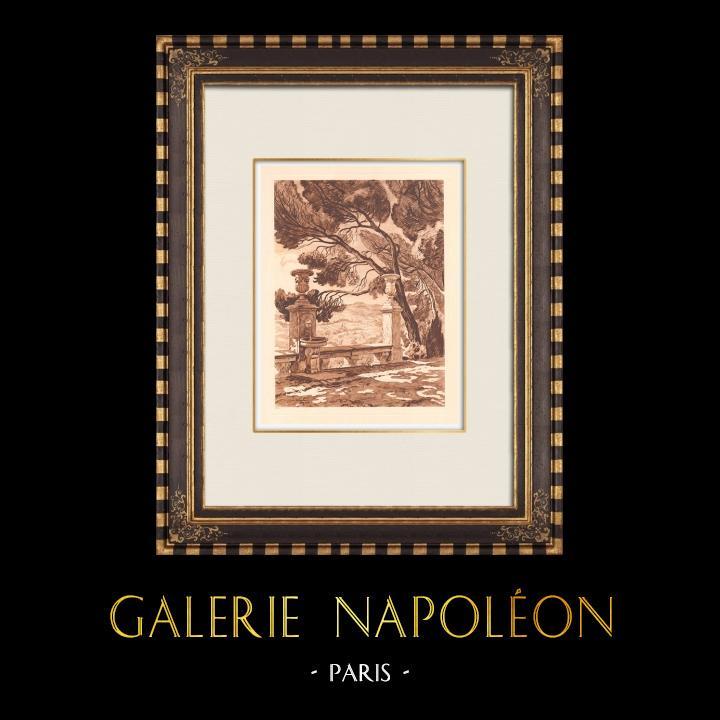 Antique Prints & Drawings   A marble bench - Le Tholonet near Aix-en-Provence (France)   Copper engraving   1943