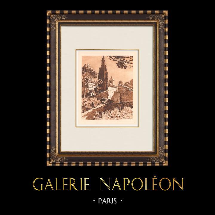 Antique Prints & Drawings | Chapel of St.-Marc's Castle - Around Aix-en-Provence (France) | Copper engraving | 1943