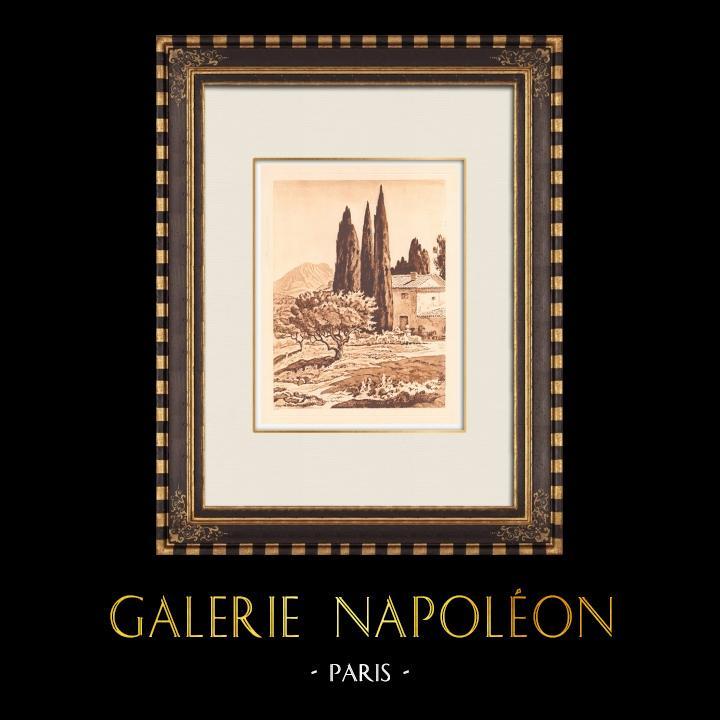 Antique Prints & Drawings | Provencal mas near Aix-en-Provence - Provence-Alpes-Côte d'Azur (France)  | Copper engraving | 1943