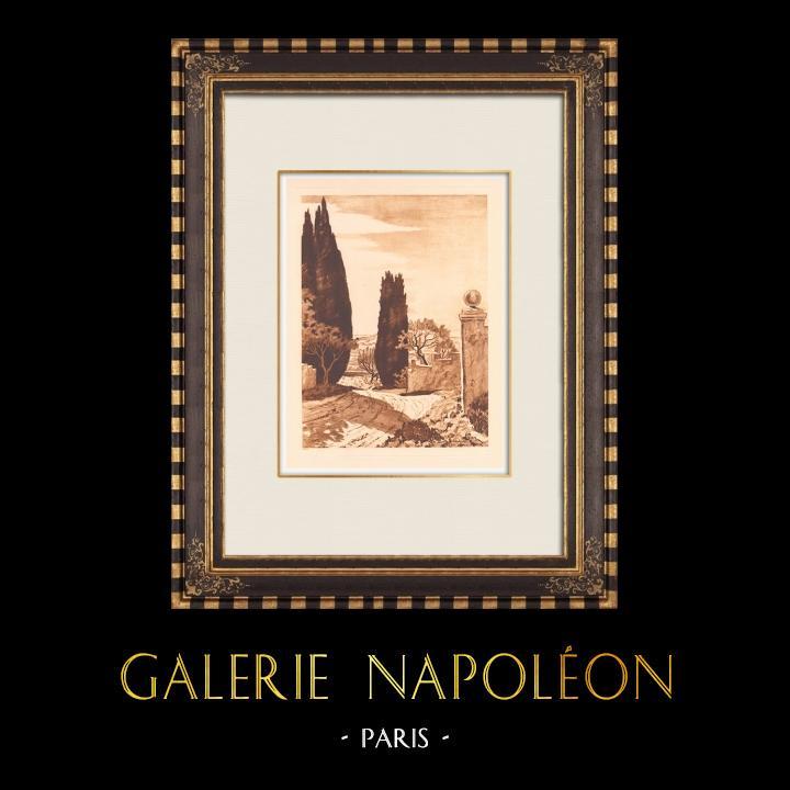 Antique Prints & Drawings   Landscape of Provence (France)   Copper engraving   1943
