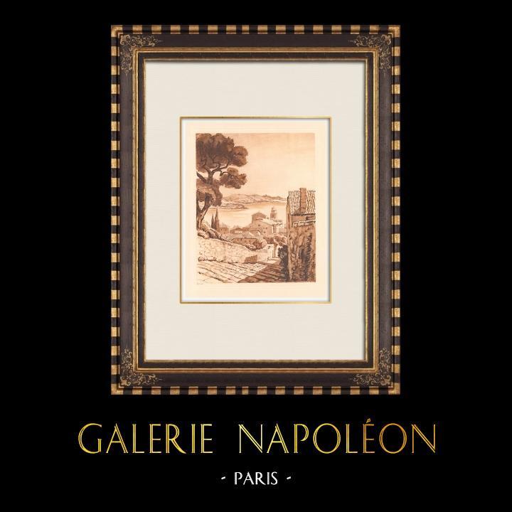 Antique Prints & Drawings | View of Villefranche-sur-Mer - Provence-Alpes-Côte d'Azur (France)  | Copper engraving | 1943