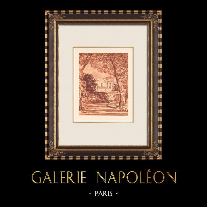 Gravures Anciennes & Dessins | Pavillon d'Assas - Folie - Montpellier - Languedoc-Roussillon (France) | Gravure sur cuivre | 1943