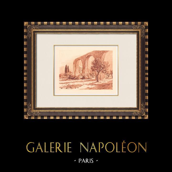 Antique Prints & Drawings   Aqueduct - XVIIth Century - Pierre-Paul Riquet - Castries - Hérault (France)   Copper engraving   1943