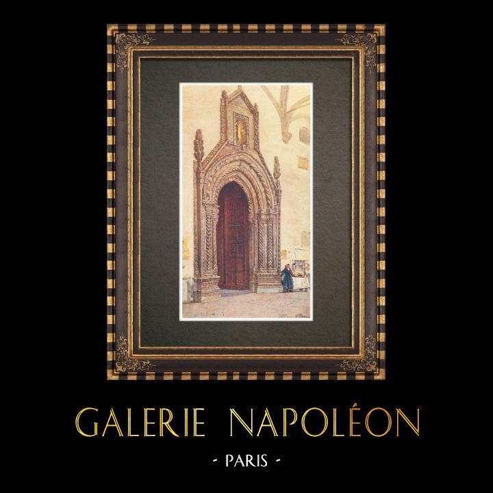 Gravures Anciennes & Dessins | Cathédrale de Palerme - Portail sud - Sicile (Italie) | Impression | 1911