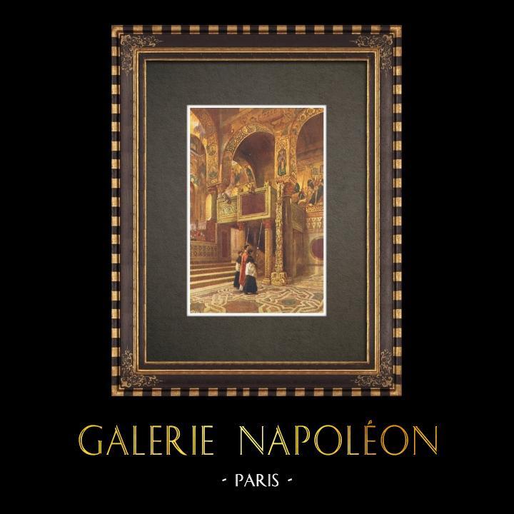 Gravures Anciennes & Dessins | Chapelle Palatine - Palais des Normands - Palerme - Sicile (Italie) | Impression | 1911