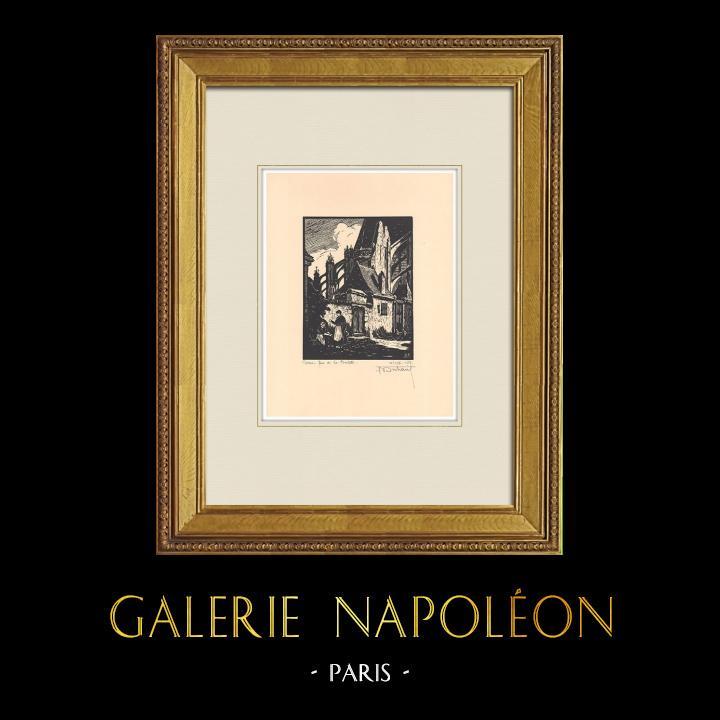 Grabados & Dibujos Antiguos | Rue de la Psalette en Tours - Valle del Loira - Indre y Loira (Francia) | Grabado xilográfico | 1933