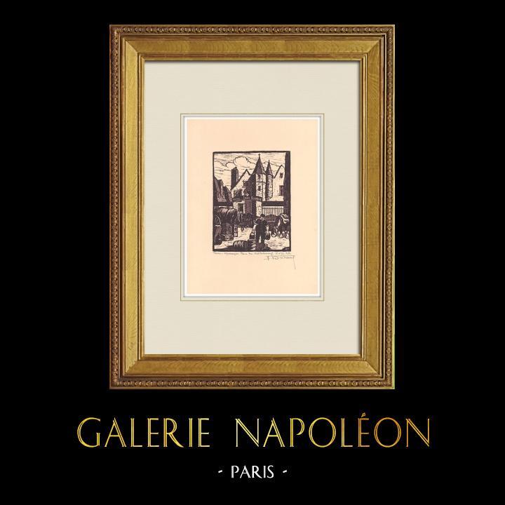 Grabados & Dibujos Antiguos | Place du Chateauneuf en Tours - Valle del Loira - Indre y Loira (Francia) | Grabado xilográfico | 1933