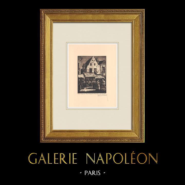 Antique Prints & Drawings | Market Place in Tours - Loire Valley - Indre-et-Loire (France) | Wood engraving | 1933
