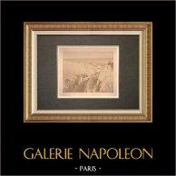 Nice - Vista presa delle castello - Baia degli Angeli - Alpi marittime (Francia) | Stampa all'albume originale. Anonima. Applicato su cartone. 1880