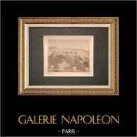 Veduta di Nice - Parco cittadino - Baia degli Angeli - Alpi marittime (Francia) | Stampa all'albume originale. Anonima. Applicato su cartone. 1880