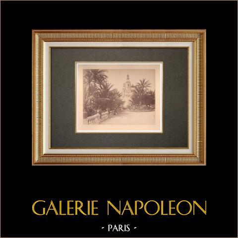 Principado de Mónaco - Monte Carlo - Costa Azul - Teatro - Jardín | Impresión fotográfica en papel a la albúmina. Anónimo. Montado sobre cartón. 1880