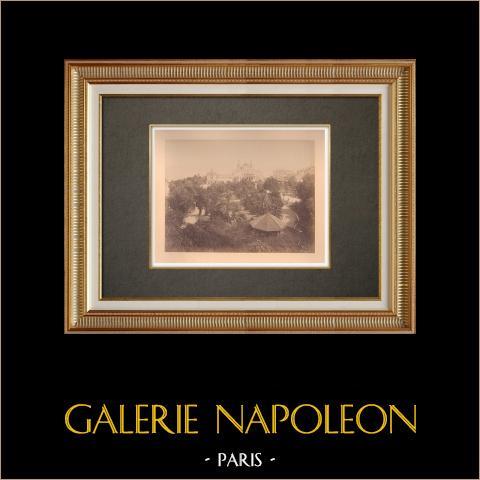 Principality of Monaco - Monte Carlo - Casino - Garden - Côte d'Azur | Original albumen photographic print. Anonymous. Mounted on a card. 1880