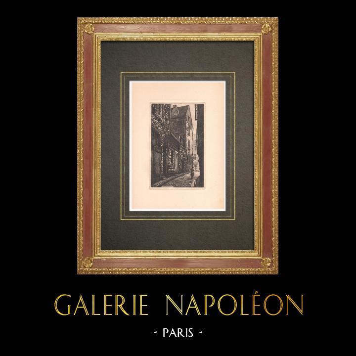 Antique Prints & Drawings | Rue de la Paix - Old house XIVth century in Tours - Indre-et-Loire (France) | Strong water etching | 1942