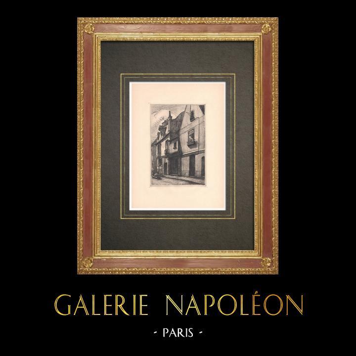 Grabados & Dibujos Antiguos | Rue Courteline - Casa antigua en Tours - Indre y Loira (Francia) | Grabado al aguafuerte | 1942