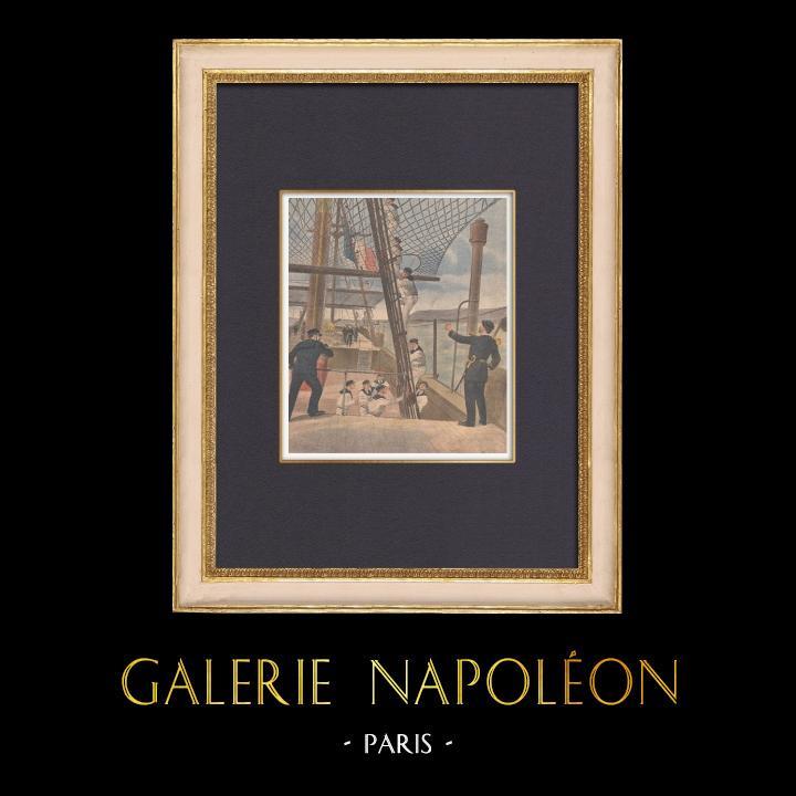 Grabados & Dibujos Antiguos | Marina Francesa - La vida a bordo de un buque escuela - Borda - Brest - Francia - 1902 | Grabado xilográfico | 1902