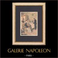 Séparation de deux fillettes siamoises - France - 1902 | Gravure sur bois imprimée en chromotypographie. Anonyme. Texte au verso. 1902
