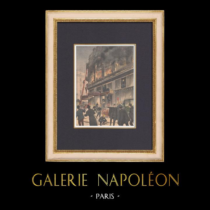 Antique Prints & Drawings | Fire in Paris, rue d'Uzès - France - 1902 | Wood engraving | 1902