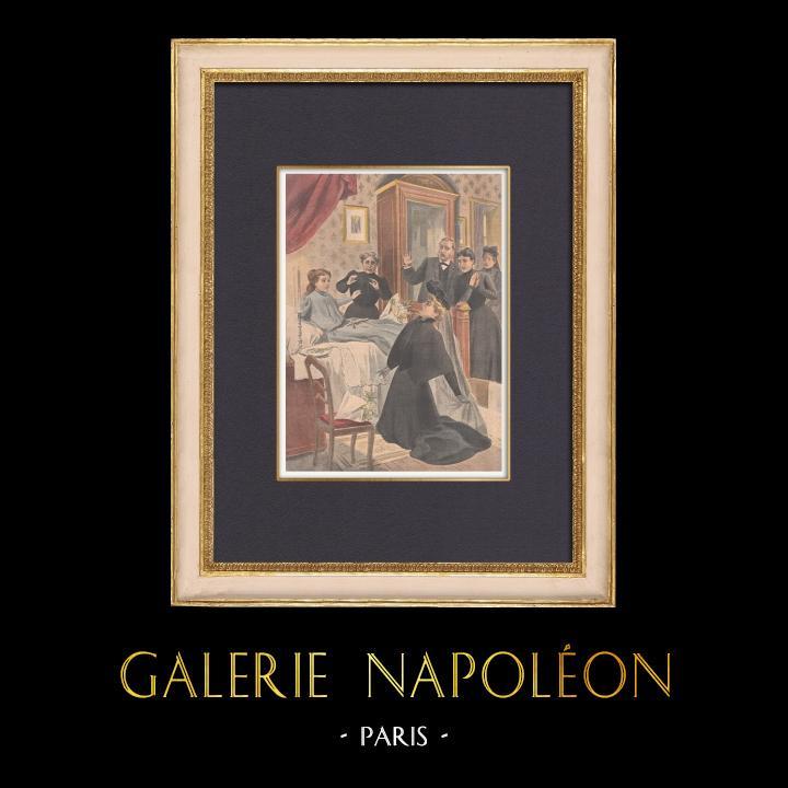 Grabados & Dibujos Antiguos | Muerte aparente de una chica en Argentat - Francia - 1902 | Grabado xilográfico | 1902