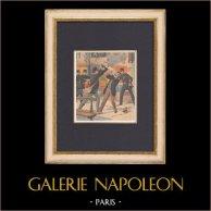 Élections législatives françaises - Affichage - Bagarre - Paris - 1902 | Gravure sur bois imprimée en chromotypographie. Anonyme. Texte au verso. 1902