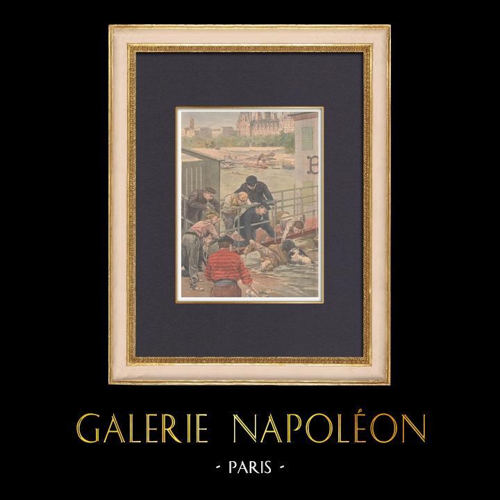 Gravures Anciennes & Dessins | Un chien sauve un suicidé de la noyade - Seine - Paris - 1902 | Gravure sur bois | 1902