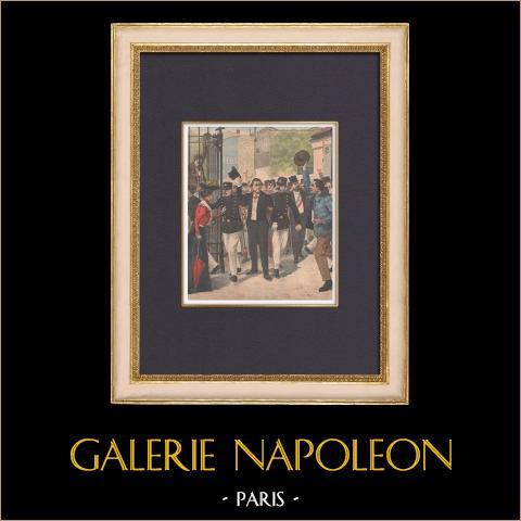 Religiös tältet - Arrest av François Coppée - Paris - 1902 | Original träsnitt tryckt i kromotypografi. Anonym. Text på baksidan. 1902