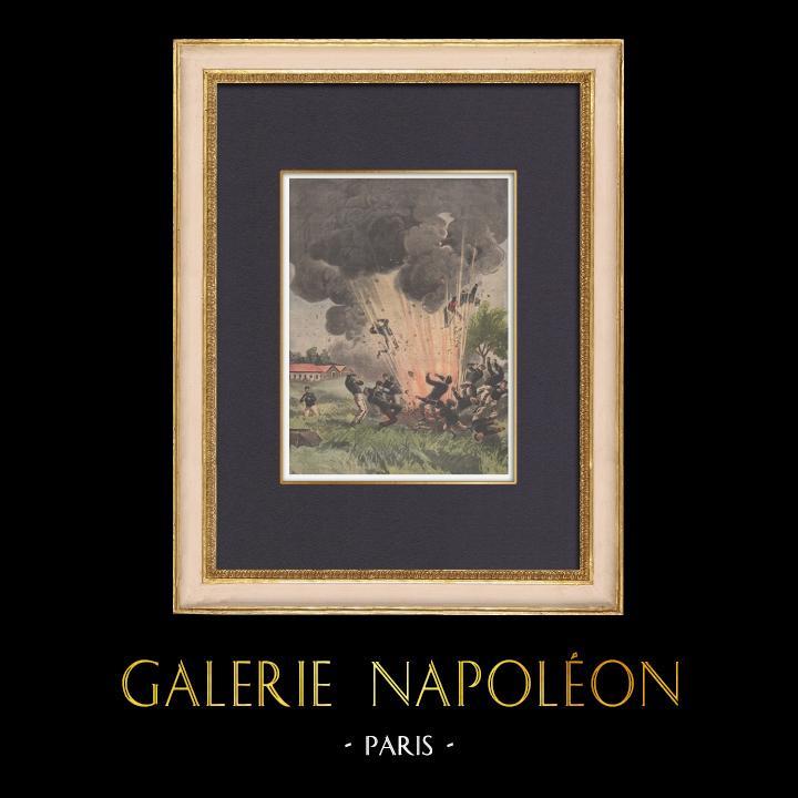 Gravures Anciennes & Dessins | Explosion au camp militaire de Satory - Versailles - Ile de France - 1902 | Gravure sur bois | 1902