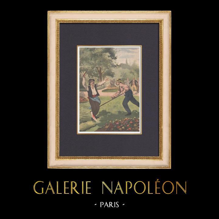 Antique Prints & Drawings | Duel between peasants at Caloire - Loire - France - 1902 | Wood engraving | 1902