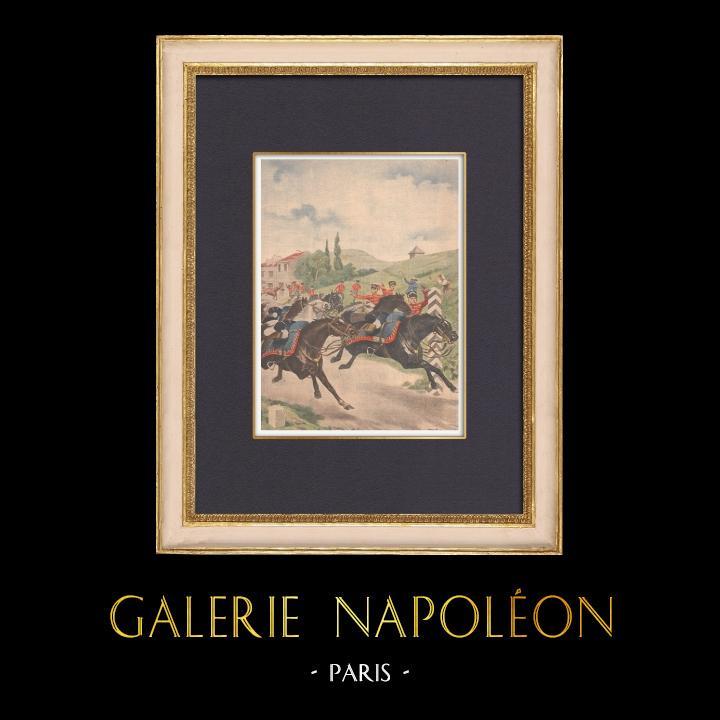 Gravures Anciennes & Dessins | Des chevaux allemands déserteurs - Bayonville - France - 1902 | Gravure sur bois | 1902