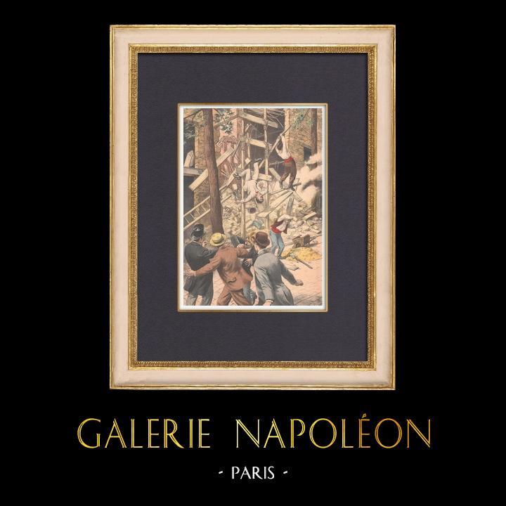 Antique Prints & Drawings | Falling down a facade in Rosny-sous-Bois - Île-de-France - 1902 | Wood engraving | 1902