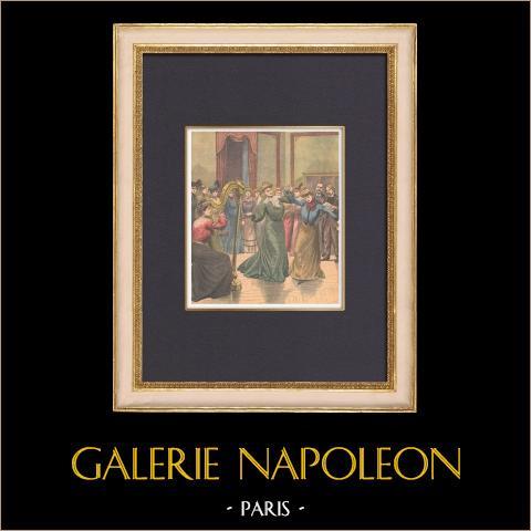 Conservatorio Mimi Pinson - Gustave Charpentier - Paris - 1902 | Grabado xilográfico original impreso en cromotipografia. Anónimo. Reverso impreso. 1902