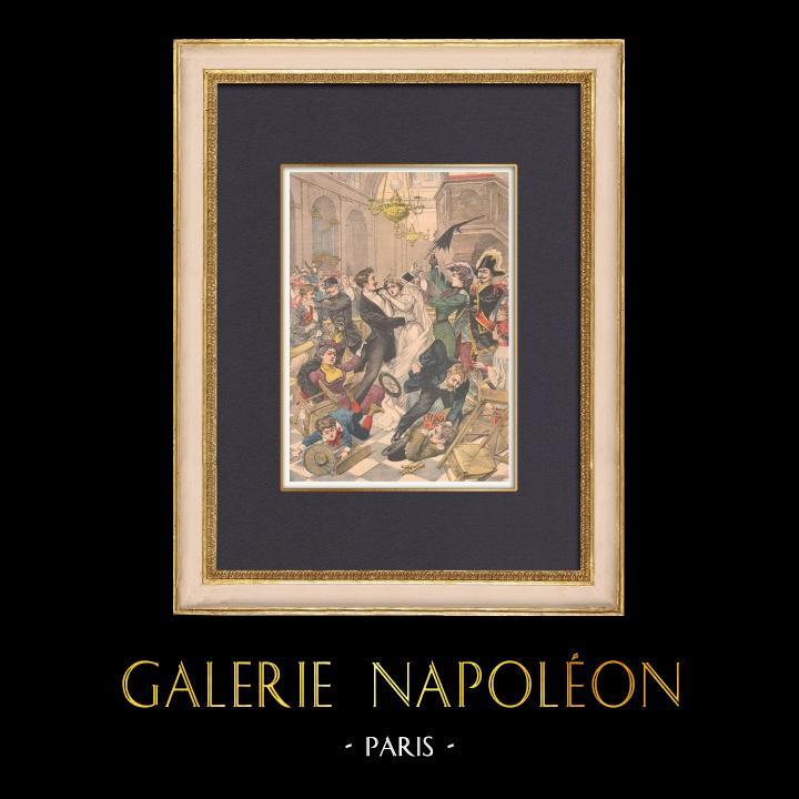 Gravures Anciennes & Dessins | Bagarre dans une église pendant une cérémonie de mariage - Paris - 1902 | Gravure sur bois | 1902